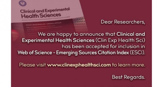 """Clinical and Experimental Health Sciences"" dergisi Web of Science- Emerging Source Citation Index'e kabul edilmiştir."